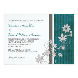Teal et faire-part de mariage de fleur de charbon carton d'invitation  12,7 cm x 17,78 cm