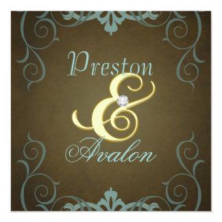 Teal et invitation de rouleau d'or de texture de carton d'invitation  13,33 cm
