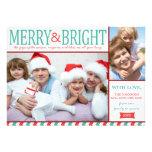 Teal et joyeuse et lumineuse carte rouge de vacanc invitations