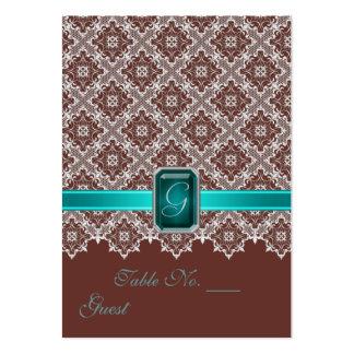 Teal et Tableau de mariage de dentelle de Brown pl Carte De Visite