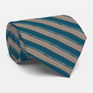 Teal foncé et rayures bronzages de point de polka cravates