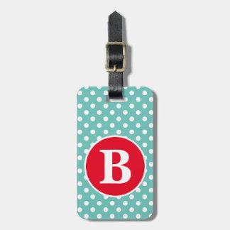 Teal léger et point de polka blanc avec le étiquette à bagage