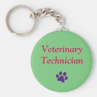 Technicien vétérinaire/empreinte de patte/vert porte-clé rond