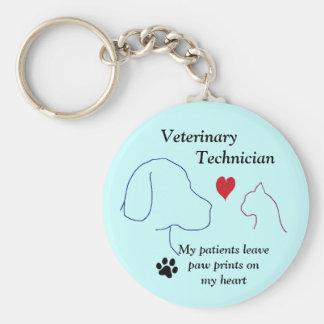 Technicien vétérinaire - empreintes de pattes sur porte-clé rond