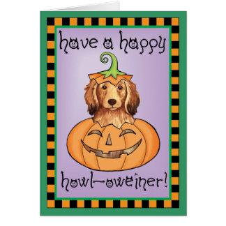 Teckel à cheveux longs de Halloween Cartes