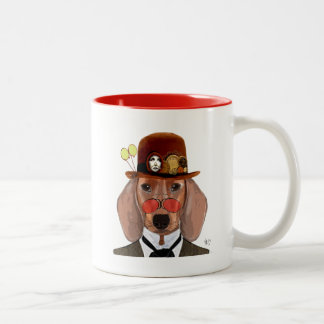 Teckel avec le chapeau de lanceur de Steampunk Mug Bicolore
