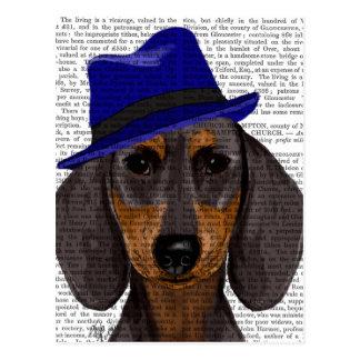 Teckel avec Trilby bleu Cartes Postales