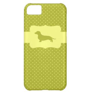 Teckel de point de polka de Green&Yellow Coque iPhone 5C