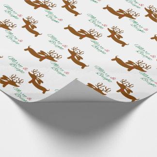 Teckel de renne joyeux et lumineux papier cadeau noël