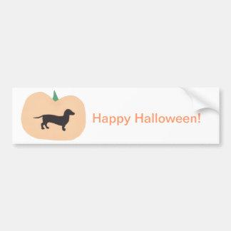 Teckel heureux de citrouille de Halloween Autocollant Pour Voiture