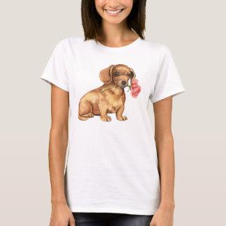 Teckel rose de Valentine T-shirt
