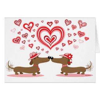 Teckels d'amour de Valentine Carte De Vœux