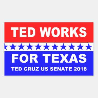 Ted fonctionne pour la conception blanche du Texas Sticker Rectangulaire