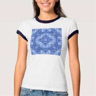 Tee - shirt bleu d'art numérique de dentelle t-shirt