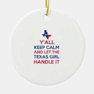 Tee - shirt de fille du Texas Ornement Rond En Céramique