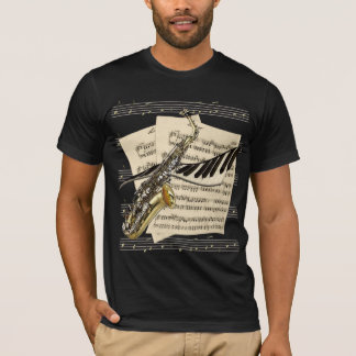 Tee - shirt de saxophone et de musique de piano t-shirt