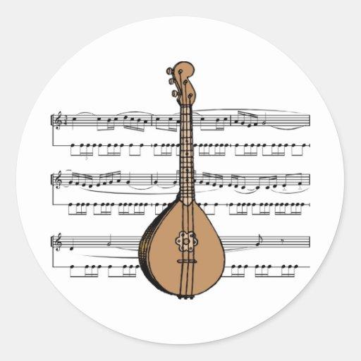 Tee - shirt et cadeaux de mandoline adhésif rond