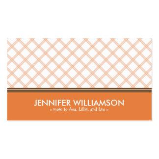 Télécarte à la mode de maman de plaid de mandarine carte de visite standard