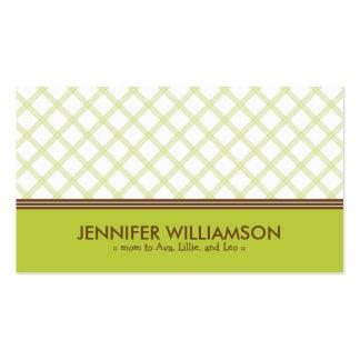 Télécarte à la mode de maman de plaid de vert de carte de visite standard