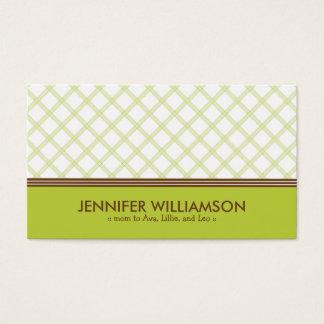 Télécarte à la mode de maman de plaid de vert de cartes de visite