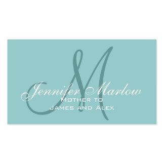 Télécarte bleue de maman de monogramme élégant carte de visite standard