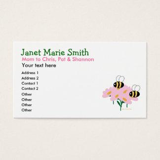 Télécarte de fleurs roses et de 2 abeilles cartes de visite