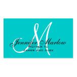 Télécarte de maman de monogramme d'Aqua Modèles De Cartes De Visite