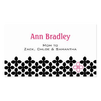 Télécarte noire moderne de maman de fleur cartes de visite professionnelles