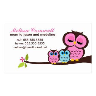 Télécartes de hiboux de maman et de bébé carte de visite