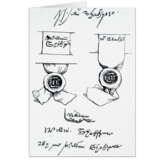 Télécopies de la signature de William Shakespeare Carte De Vœux
