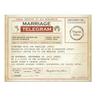 télégrammes vintages de MARIAGE Carton D'invitation 10,79 Cm X 13,97 Cm