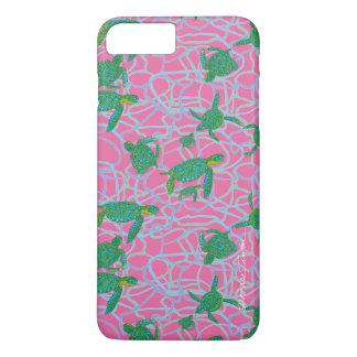 Téléphone de tortue de mer rose et verte/caisse de coque iPhone 7 plus