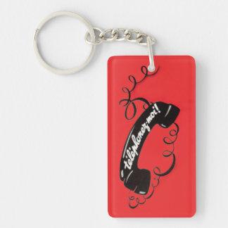 Telephonez-Moi ! Téléphone attaché par rouge Porte-clé Rectangulaire En Acrylique Une Face