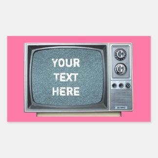 Téléviseur vintage avec l'écran statique sticker rectangulaire