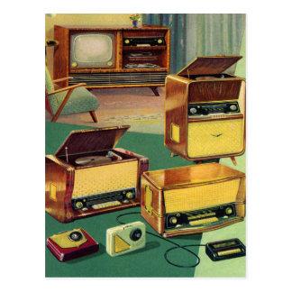 Téléviseurs stéréo de haute fidélité de les années carte postale
