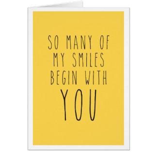 Tellement plusieurs de mes sourires commencent par cartes