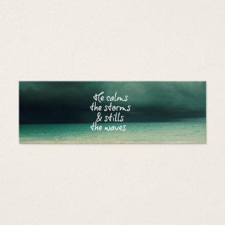 Tempête d'océan avec la citation de Dieu Mini Carte De Visite