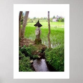 Temple blanc Bali de gisement de riz d affiche 18