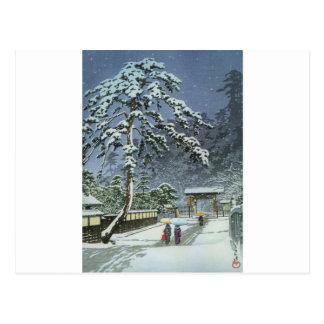 Temple de Honmonji dans la neige - 川瀬巴水 de Kawase Carte Postale