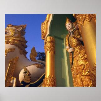 Temple de la Birmanie (Myanmar), Rangoon (Yangon) Affiches