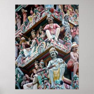 Temple hindou - peu d'Inde, Singapour Affiche