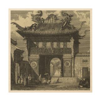 Temple impérial asiatique dans noir et le blanc art mural sur bois