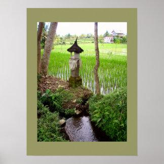 Temple olive Bali de gisement de riz d affiche 18