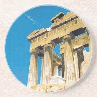 Temple vintage de parthenon d'Athènes Grèce de Dessous De Verre En Grès
