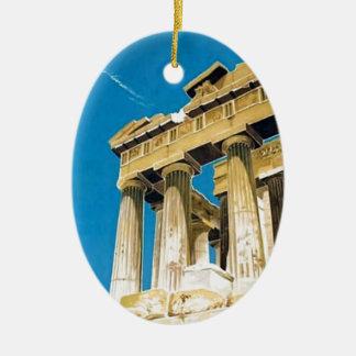 Temple vintage de parthenon d'Athènes Grèce de Ornement Ovale En Céramique