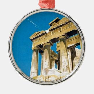 Temple vintage de parthenon d'Athènes Grèce de Ornement Rond Argenté
