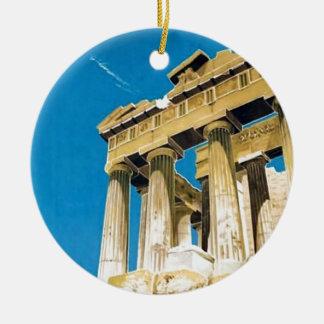 Temple vintage de parthenon d'Athènes Grèce de Ornement Rond En Céramique