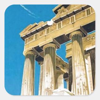 Temple vintage de parthenon d'Athènes Grèce de Sticker Carré