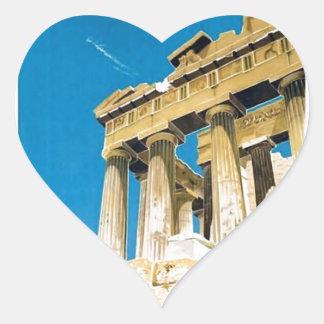 Temple vintage de parthenon d'Athènes Grèce de Sticker Cœur