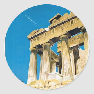 Temple vintage de parthenon d'Athènes Grèce de Sticker Rond